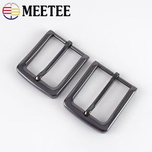 Meetee 1/2pc ID35mm Alloy Pin Buckles Belt Head Men Metal Brushed Buckle DIY Leathercraft for Men's Belts Jeans Accessories
