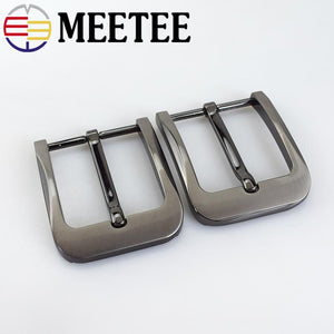 Meetee 2pcs DIY Leather Craft Hardware 40mm Pin Belt Buckle Brushed Metal Fashion Mens Womens Jeans Accessories ZK894