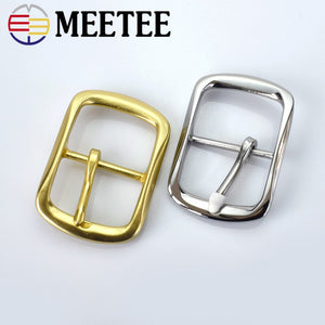 Meetee 40mm Solid Brass Men's Belt Buckle Stainless Steel Pin Buckle Mens Womens Jeans Accessories DIY Leather Craft Hardware