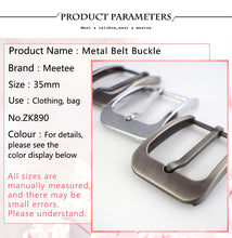 Load image into Gallery viewer, Meetee 1/2pcs 35mm Pin Belt Buckle Women Men's Metal Cowboy Buckle DIY Leather Craft Jeans Accessories Supply for 3.3-3.4cm Belt