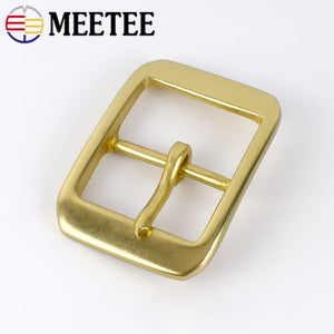 Meetee 1pc 40mm Pure Copper Stainless Steel Belt Buckles for Men Pin Buckle Head DIY jeans Leathercrafts Hardware Accessories