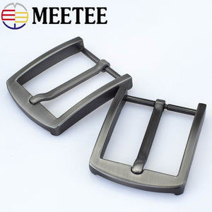 2pcs Meetee 40mm Alloy Brushed Belt Buckles Metal Pin Buckle Head for Men Hardware Leather Craft DIY Jeans Clothing Accessories