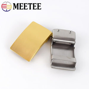 Meetee 36mm Stainless Steel Men's Belt Buckle Without Teeth Automatic Buckles Head DIY Business Casual Leather Craft Accessories