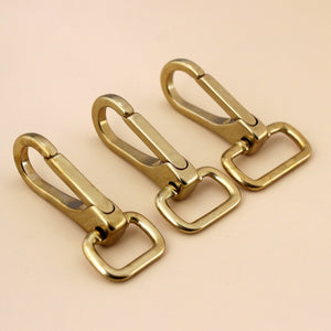 1 piece Solid brass snap hook swivel eye push gate trigger clasp for Leather Craft bag strap belt webbing pet dog leash clip