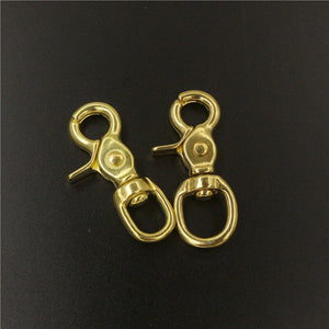 A Pair of Brass Swivel Eye Snap Hook Lobster Claw Trigger Clasp Fob Clip for Leather Craft Bag Strap Belt Pet Rope Keychain