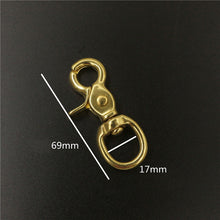 Load image into Gallery viewer, A Pair of Brass Swivel Eye Snap Hook Lobster Claw Trigger Clasp Fob Clip for Leather Craft Bag Strap Belt Pet Rope Keychain