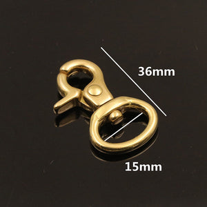 1pcs Brass bag snap hook swivel eye fob clip lobster claw trigger clasp for Leather Craft bag strap belt webbing keychain