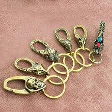 将图片加载到图库查看器,1pcs Solid Brass Belt O-ring Hook Devil Skull Dragon Hook Key Fob Clip Keychain Key Ring Wallet Chain Hook Leather Craft Decor