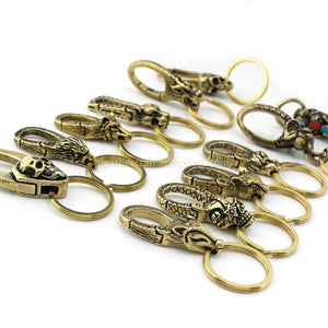 1pcs Solid Brass Belt O-ring Hook Devil Skull Dragon Hook Key Fob Clip Keychain Key Ring Wallet Chain Hook Leather Craft Decor