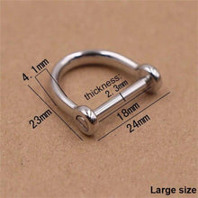 将图片加载到图库查看器,M14 1 x Stainless steel D-ringshackle Clasp Buckle Keychain Ring Hook screw pin joint Connecter Bag Strap Leathercraft Parts