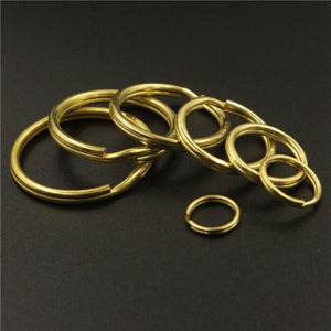 M18 Solid Brass Split Rings Double Loop Keyring 10-35mm Keychain Keys Holder DIY Leather Craft hardware