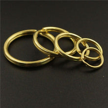 将图片加载到图库查看器,M18 Solid Brass Split Rings Double Loop Keyring 10-35mm Keychain Keys Holder DIY Leather Craft hardware