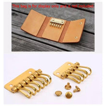 将图片加载到图库查看器,M20 1 x Solid Brass metal key snap hook key holder Key Row Rivet Hook Keyring Organizer Holder Leather Craft Key case purse Hardware