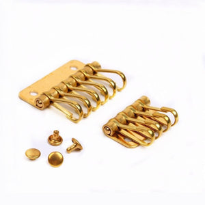 M20 1 x Solid Brass metal key snap hook key holder Key Row Rivet Hook Keyring Organizer Holder Leather Craft Key case purse Hardware