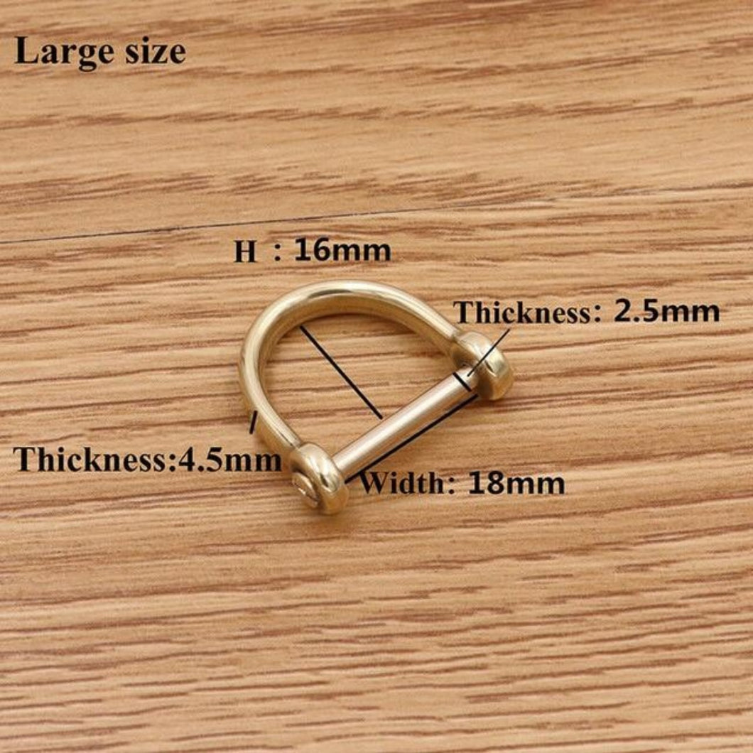 M22 1 x Solid brass D shackle Clasp Metal Buckle Keychain Ring Hook screw pin joint Connecter Bag Strap Clasp Leathercraft Accessory