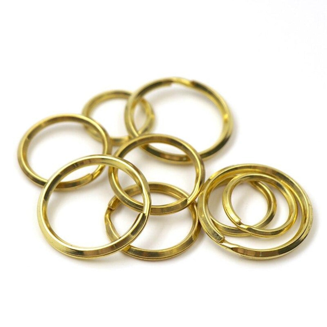 M30 Solid Brass Split Rings Double Loop Keyring 20/25/30mm Keychain Keys Holder bag hook Connector DIY Leather Craft hardware