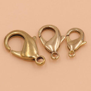 M37 10pcs Brass Lobster claw clasps snap hook for leather craft bag key ring jewelry finding