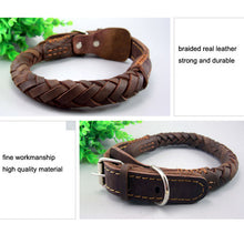 Load image into Gallery viewer, 8 Leather Dog Collars Big Dogs Braided Handmade Basic Collars Strong Durable Pets Accessories for Golden Retriever Husky Animals