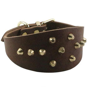 8 High Quality Cow Leather Greyhound Dog Collar Spiked Studded Necklace Pet Dog Collar Heavy Duty For Neck 14-15 Inch
