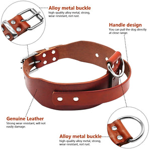 "8 Heavy duty Brown Leather Dog Training Collars with Handle For Medium Large Dogs Pitbull Doberman Neck Size 17-21"" Adjustable"