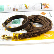 Load image into Gallery viewer, 8 Braided Leather Dog Collar Leashes Set Small Dog Necklace Walking Chain Sturdy Sewing Lead Pet Accessories