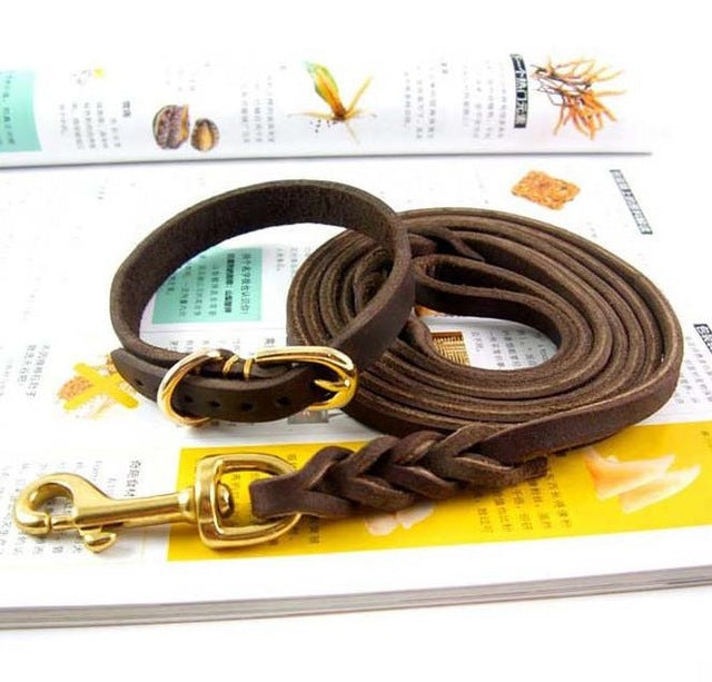 8 Braided Leather Dog Collar Leashes Set Small Dog Necklace Walking Chain Sturdy Sewing Lead Pet Accessories