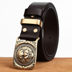 3 Tiger pattern Cow Leather Men Jeans Belts Vintage Pin Buckle Genuine Leather Belt For Men Male Gift For Man Husband Father
