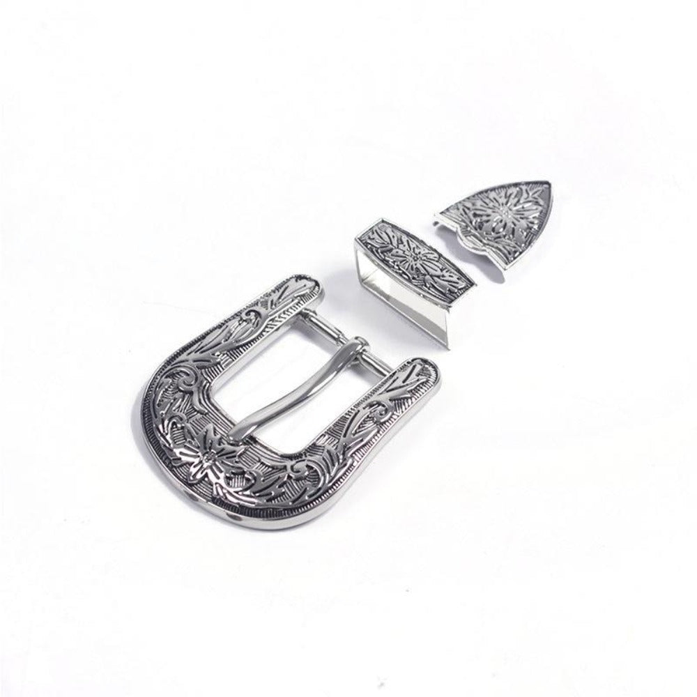7 3parts/set 26mm Retro carved Antique Nickel Belt Buckle DIY accessories leather craft for women's Mens Jeans Cowboy Style