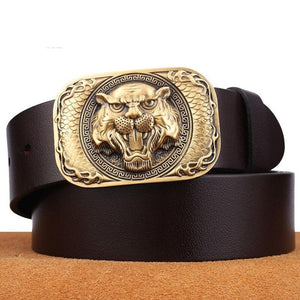 3 men belt cow genuine leather luxury strap male belts for men new fashion classice vintage novelty Tiger pattern