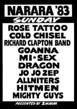 Load image into Gallery viewer, Narara Music Festival 1983. Sunday Line Up. Black & White Print
