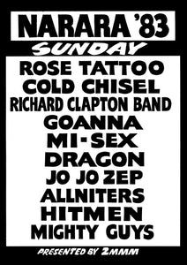 Narara Music Festival 1983. Sunday Line Up. Black & White Print