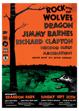 Load image into Gallery viewer, Rock with the Wolves feat. Dragon, Jimmy Barnes, Richard Clapton 1984. Full Colour Print