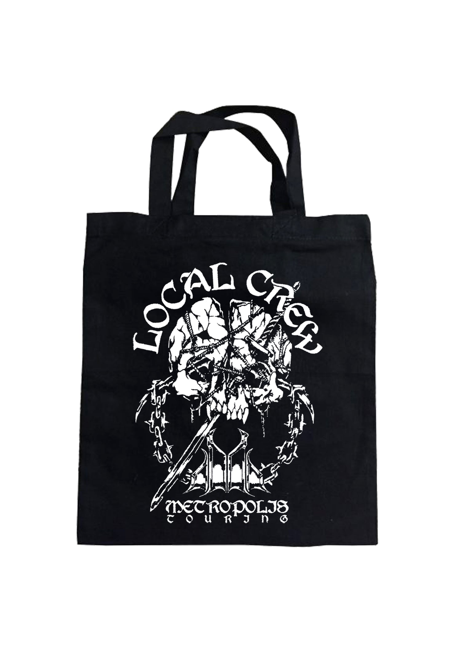 Image shows printed side of Tote Bag featuring Local Crew Illustration by Baker.