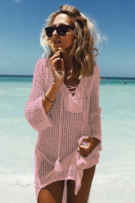 Pink Crochet Coverup