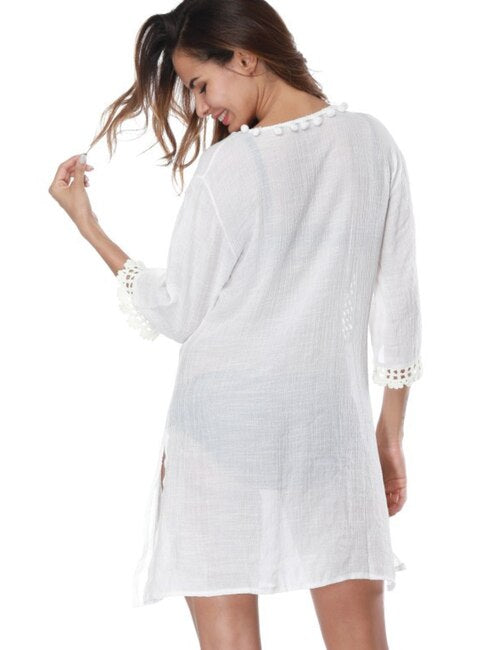 White Deep V neck Coverup