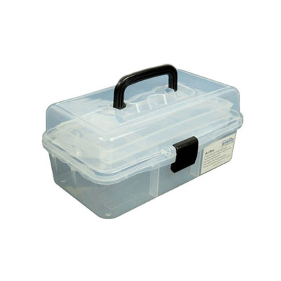 Clear and robust art caddy has concertina effect fold-out trays for storage of art materials.
