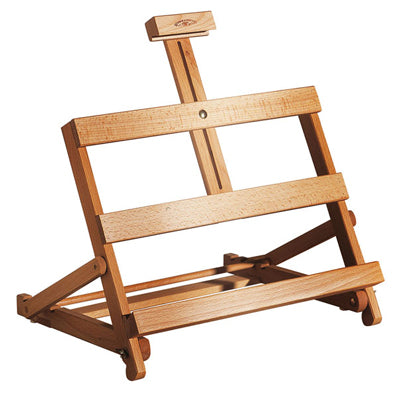 Solid, oiled beech wood easel holds canvases up to 47cm high and 55cm wide.