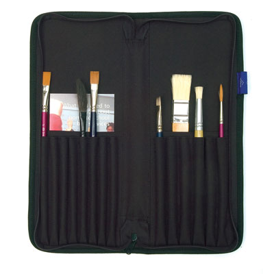Brush Case is made with a black nylon reinforced outer casing with a zip closure.