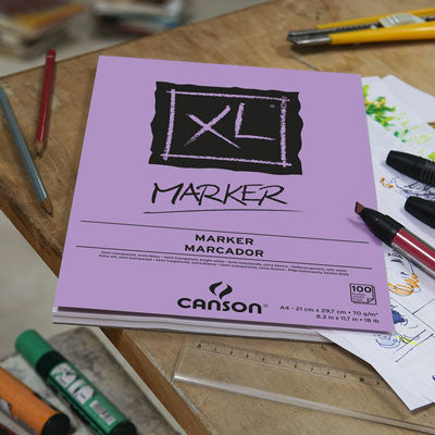 Canson XL Marker pad contains semi-transparent, very white, very smooth paper for layout work.