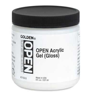 Slow drying acrylic gel to adjust colour strength and translucency when mixed with acrylics