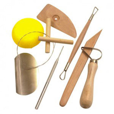 Pottery tool kit for use when sculpting with kiln dried or air drying clay