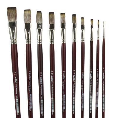Soft bristle artist brushes are strong and highly flexible. Suitable for both Oil and Acrylic