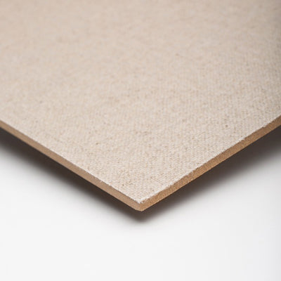 Boards are made by glueing linen on to a sheet of 4mm MDF with PH Neutral adhesive which fixes and forms sufficient barrier between the board and linen to protect the linen from any impurities