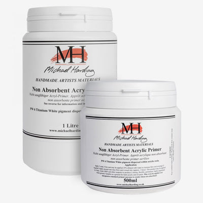 Michael Harding's Non-Absorbent Acrylic primer prevents oil paints to appear to dull due to the primer drawing out the oil giving a flat, muted looking paint surface.