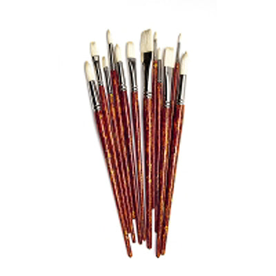 Top quality artist hog bristle brushes ideal for oils and acrylics