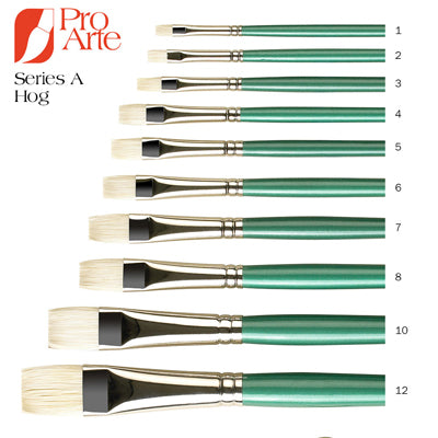 Pro Arte Series A Hog Brushes - Short Flat (Bright)