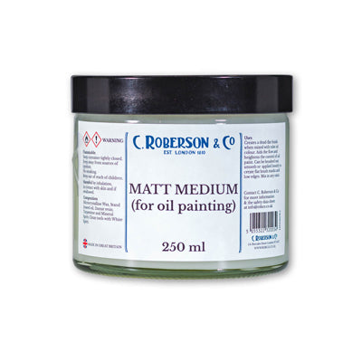 Matt Medium for oil painting that creates a dead-flat finish when mixed with oil colour.
