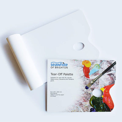 Waxed paper pallette suitable for use with oil, acrylic, watercolour, gouache & tempera paint.