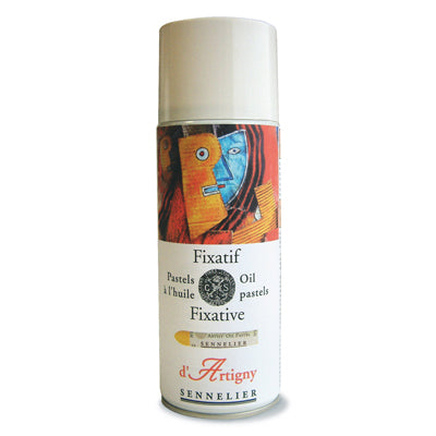 Totally transparent fixative that leaves a clear and silk-like film protecting the oil pastel image.