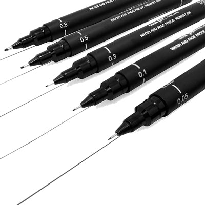Uni Pin Fineliner - set of 5 Black